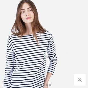 Everlane Heavyweight Tee, navy and white stripe